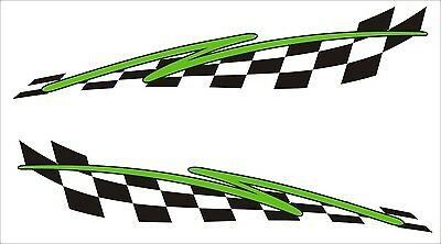2x Large Flash chequered flag vinyl stickers graphics decals car dirt bike car