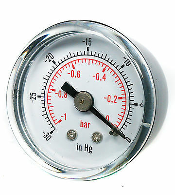 Vacuum Gauge -30*Hg & -1/0 Bar 50mm Dial 1/4 BSPT back connection.
