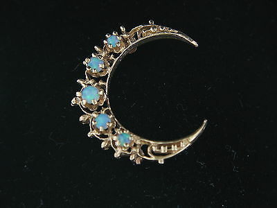 Estate and Vintage 14K Yellow Gold Five Opal Crescent Moon Brooch