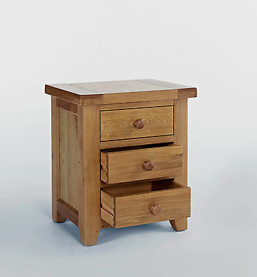 Oak Chest of 3 Drawers Storage Bedside Cabinet Bedroom Country Style Solid Wood