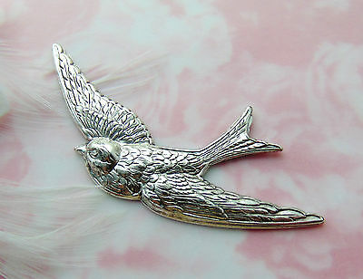 SILVER Sparrow Bird Stamping ~ Antique Silver Jewelry (E-25) `