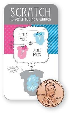 Baby Shower Gender Reveal Blue Boy Bow Bowtie Party Scratch Cards Game