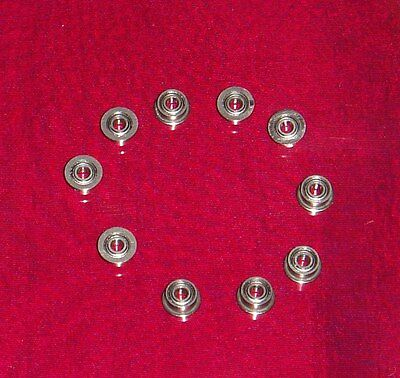 MOTOR BALL BEARINGS--2MM ID X 5MM OD-FLANGED AND SHIELDED-LOT of 10