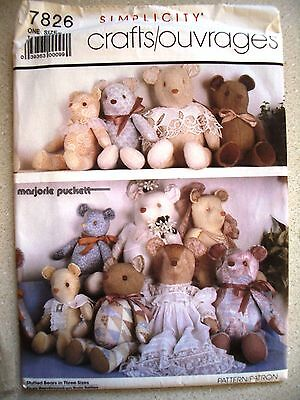 Simplicity 7826 Crafts Marjorie Puckett Bears 3 Sizes Sewing Pattern UNCUT