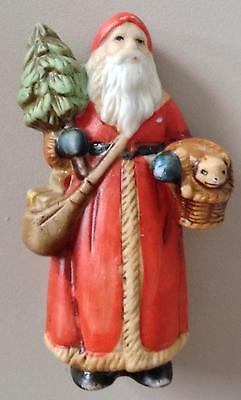 Porcelain Santa Father Christmas Figurine In Red Robe 3""
