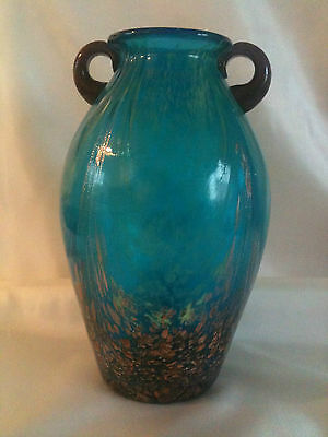 Dale Tiffany American Hand Blown Art Glass Vase with Copper Fleck Lustre