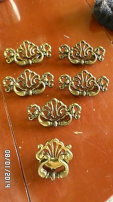 "231D Vtg Ornate Set 6 Solid Brass Drawer Handles 1 Small 2 3/4"" 5 Large 4 1/2"""