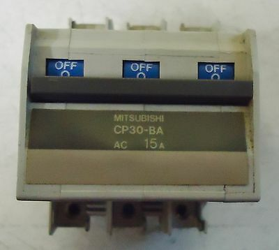 Mitsubishi Circuit Protector M/n Cp30-Ba, 3 Pole, Ac 15A,s/n B9111 Made In Japan