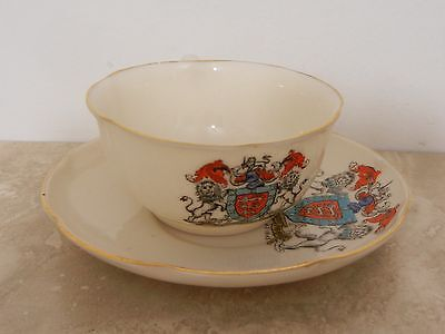 GOSS CRESTED CHINA CUP & SAUCER CITY of  HEREFORD ENGLAND CREST POTTERY SOUVENIR