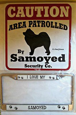 NEW SAMOYED DOG Gift Lot ~ Caution Patrolled Sign & I Love License Plate Cover