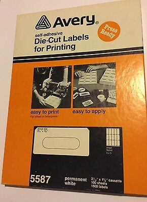 Vintage Avery White Cassette Audio Tape Labels 5587 BOX Of 1500 SELF ADH DIE CUT