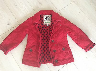 Next Beautiful Baby Girls Jacket In Red Age 5-6 Years Fab!