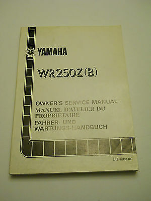 Yamaha Yz250 Wr B 1991  Official Owners  Service  Manual