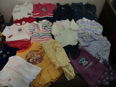 Infant Girls Size 6-9 Months Lot Of 14 Winter Clothing Outfits And Pajamas Nice!