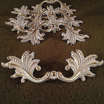 "Shabby Ornate French Regency Rococo Cast Brass 6"" Drawer Pulls Lot  3"" centers"