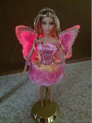 Barbie Fairytopia Elina Doll Light Up Butterfly Fairy Wing Rooted Eyelash Tattoo