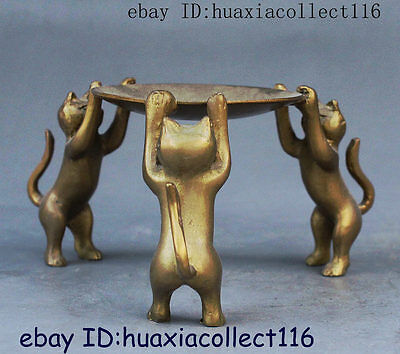 Chinese Tibet Brass Animal oil lamp Candle Holder Candlestick 3 Cat Statue