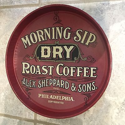 Vtg Morning Sip Dry Roast Coffee Round Metal Serving Tray ~ Sheppard & Sons