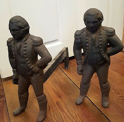 Antique George Washington andirons cast iron