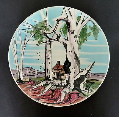 *LARGE HAND DECORATED STUDIO ANNA Australian POTTERY wall plate aboriginal RARE
