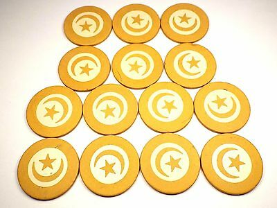 Lot of 14 Vintage Crescent Moon & Star Poker Chips Yellow