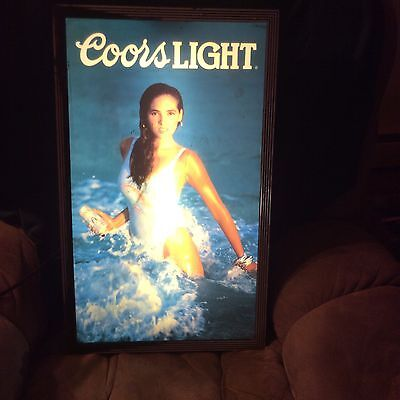 Vintage Coors Light  Beer Sign Gorgeous Girl in bathing suit