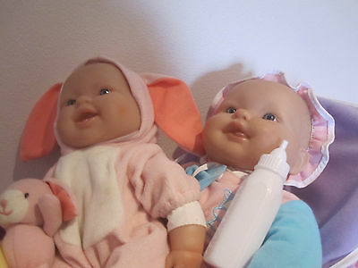 2 berenguer baby dolls (soft body) with carrier, extras