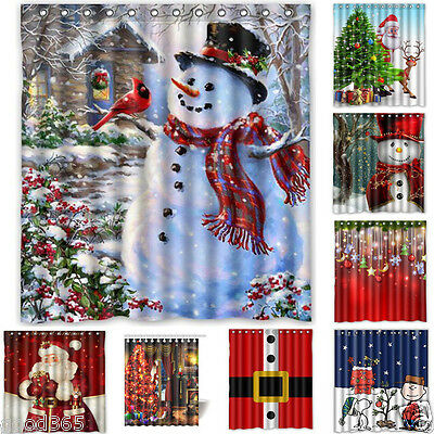 "Christmas Snowman Fabric Waterproof Bathroom Shower Curtain Set 66""x72""+12x Hook"
