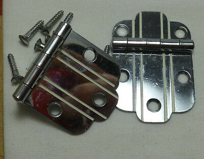 1950's Retro NOS National Lock N58-032 CHROME Cabinet Hinges White Line Stripe