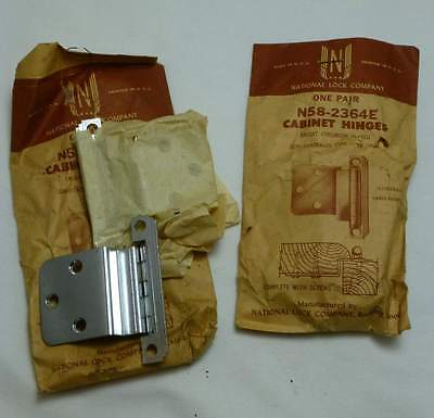 1950's Retro NOS National Lock N58-2364E CHROME Chromium Cabinet Hinges 2 Sets