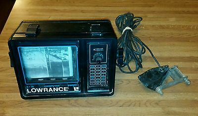 Vtg c1980's LOWRANCE FISH DEPTH FINDER #X-16 Computer Sonar w/ Cable-Lot L9