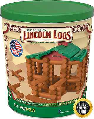LINCOLN LOGS 100th Anniversary Tin 111 All Wood Pieces Ages 3 Construction Xmas