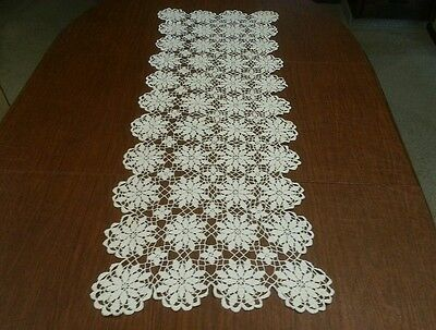 Antique Vintage Hand Made Ivory Crochet Lace Table Runner Doily 15 x 49""