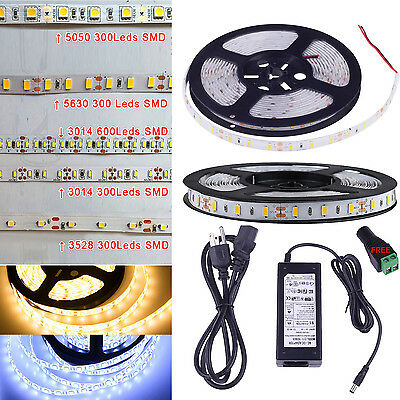 5M 5630 5050 3528 3014 SMD 300 600Leds Flexible Led Strip Light Waterproof DC12V