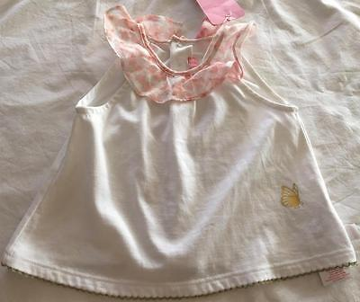 ESCADA Boutique Baby Girls 6M (3-6M) White Top w/contrast floral frill trim NWT