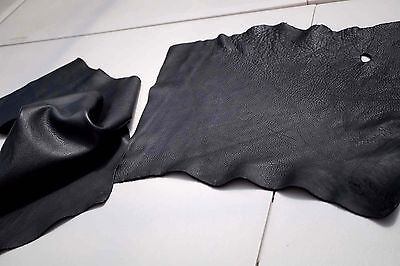 Black Cowhide Elmo Upholstery Leather Pieces 35 x 30cm and 50 x 29cm Semi-Anilin
