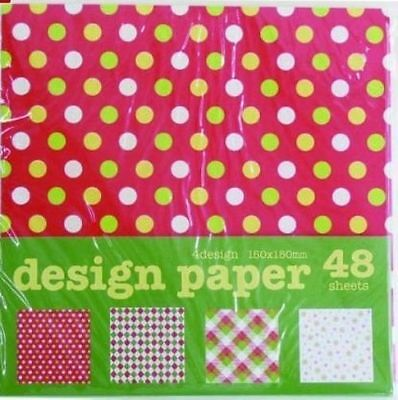 Origami Paper Pack Christmas Xmas Designs Red Green Polka 150x150mm 48s