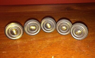 Set of 5, Vintage Brass Knobs