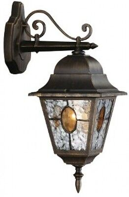 Vintage Outdoor Led Light Up Down Garden Wall External Lamp Lantern Stain Glass