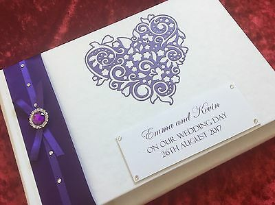 Photo Album/Guest Memory Book Wedding Engagement Boxed Purple Heart Stunning