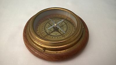 Vintage Compass In Brass With Wooden Base