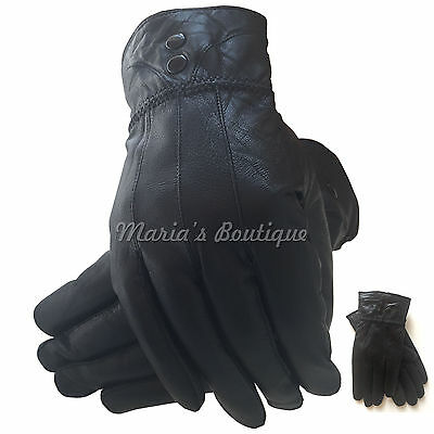 Womens Black 100% Leather Gloves Thermal Fleece Lined Driving Soft Winter Ladies