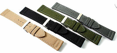 Hadley-Roma Genuine Cordura watch strap, Box stitching. Water resist. 20mm or 22