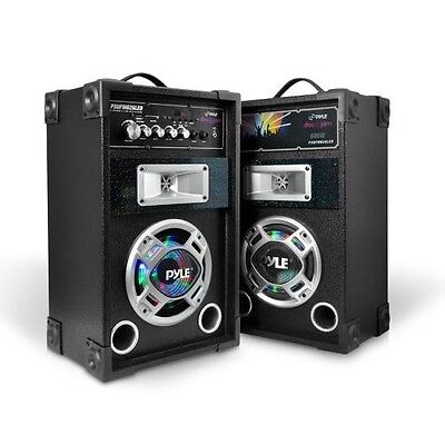 PYLE PAIR 600W Active Speaker System, DJ PA USB SD MP3 Streaming LED Lights