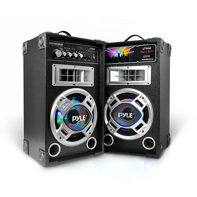PYLE 800w PAIR Active Speaker System DJ PA HOME USB SD/MP3 Streaming LED LIGHTS
