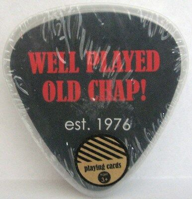 Well Played Old Chap Playing Cards Shaped like a Guitar Pick