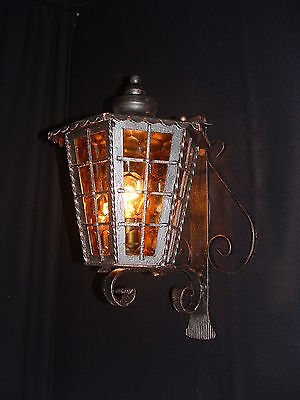 Vintage French wrought iron lantern with colored glass