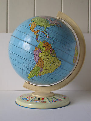 Vintage 1960s Large CHAD VALLEY Tinplate Toy Globe Geographic World Educational