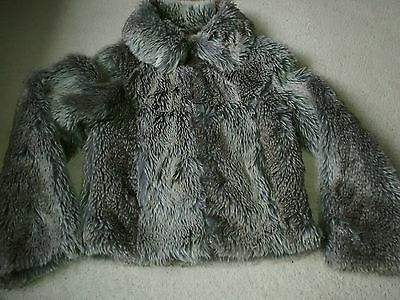 Girls faux fur fluffy party jacket age 11-12 years Matalan