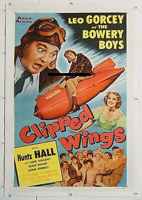 CLIPPED WINGS, 1953, BOWERY BOYS comedy, scarce US One-Sheet nicely LINEN-BACKED